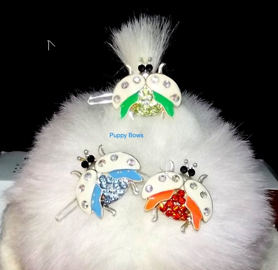 Puppy Bows ~ CLEARANCE SALE 50% OFF Rhinestone ladybug barrettes for dogs bow pet barrette blue green orange