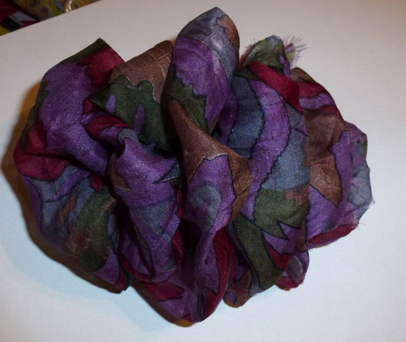 Becky Bows ~ OOAK ladies  Hand crafted SILK shabby chic  BIG fashion hair bow Women or Girls giant purple burgundy