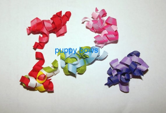 Puppy dog bows ~ SMALL Set of 4 curly q korker dog bows 5 colors, you choose boys or girls, ear bows poodles (fb58)