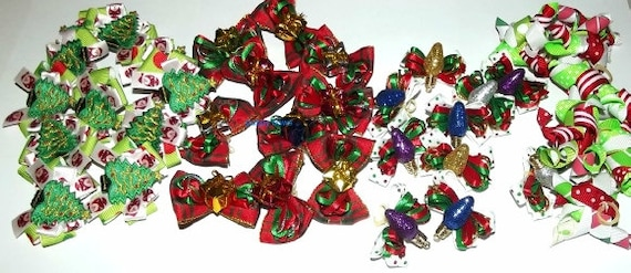 Puppy Bows ~ CHRISTMAS 4 styles tree light package red green Korker and more dog hair bow
