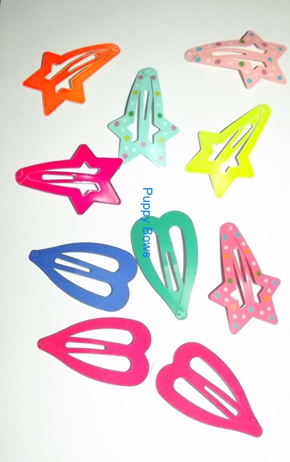 Puppy Bows ~14 Barrette snap clip  BIG DOG sample set boys or girls FREE bands! ~Usa seller