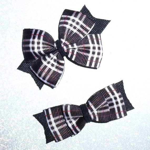 Puppy Bows ~ 2 Pawberry black/gray pet hair bow latex band ~Usa seller (fb109)