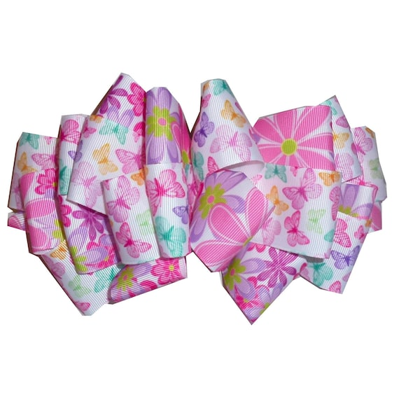 Becky Bows ~ Pink white garden flowers butterflies oversized Barrette Hand crafted  BIG hair bow Women or Girls