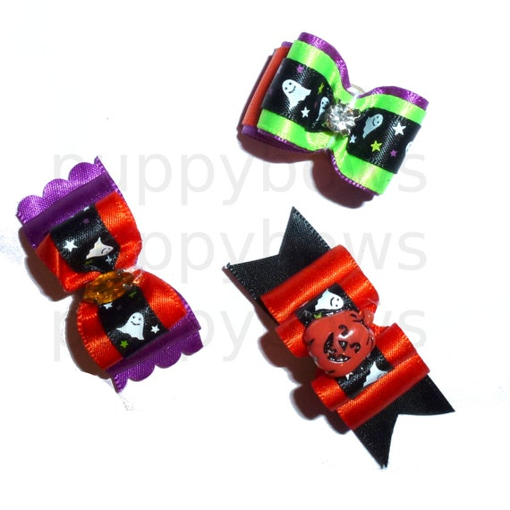 Puppy Dog Bows ~ Halloween ghost pumpkin 3 STYLES!   pet hair show bow barrettes or bands
