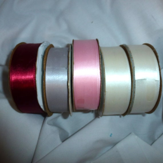 "Puppy Bows ~ ribbon craft supplies LOT 7/8"" single face satin burgundy pink gray ivory 27 yards Offray (lot9)"
