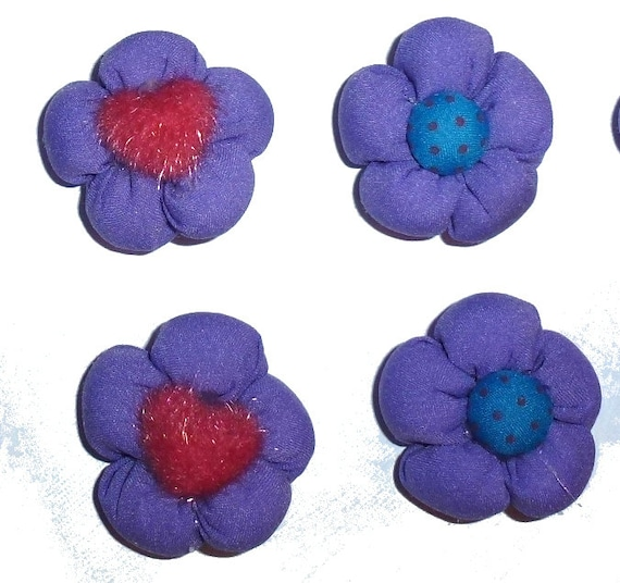 Dark purple padded puffy dog flower pet hair bow with fuzzy centers puppy pairs bows  - (fb8)
