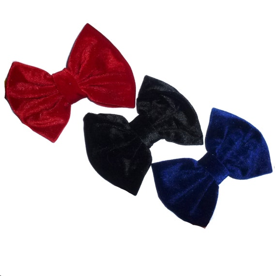 Puppy Bows ~ Dog collar slide bow large dog hair bows velvet red, blue, black dog neck accessory ~USA seller (DC6)
