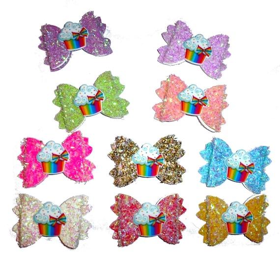 Puppy Bows ~ shaggy glitter pet hair dog birthday bow or collar slide accessory cupcake  (fb235)