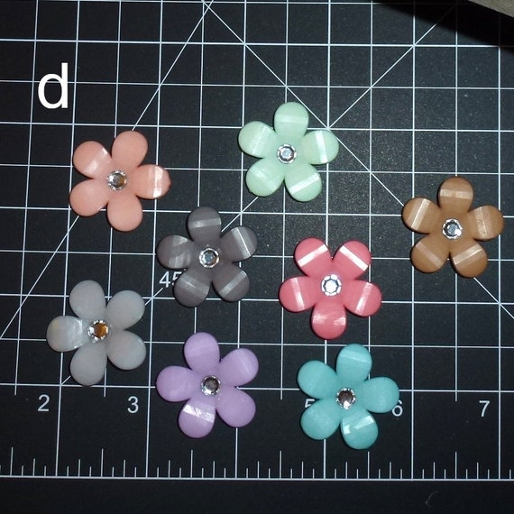 Puppy Dog Bows ~ cute five-petal flowers with rhinestone center pet hair bow barrettes or bands (fb350d)