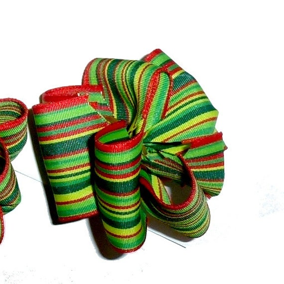 Puppy Bows ~ Green yellow  stripes Party puffs dog groomer hair bows or collar bows