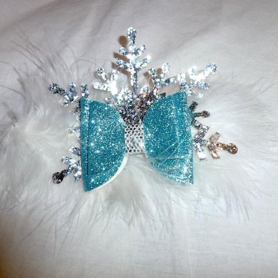 Puppy Bows ~ Large marabou feather boa  dog bow Christmas collar slide frozen snowflake blue glitter  ~USA seller (fb162)