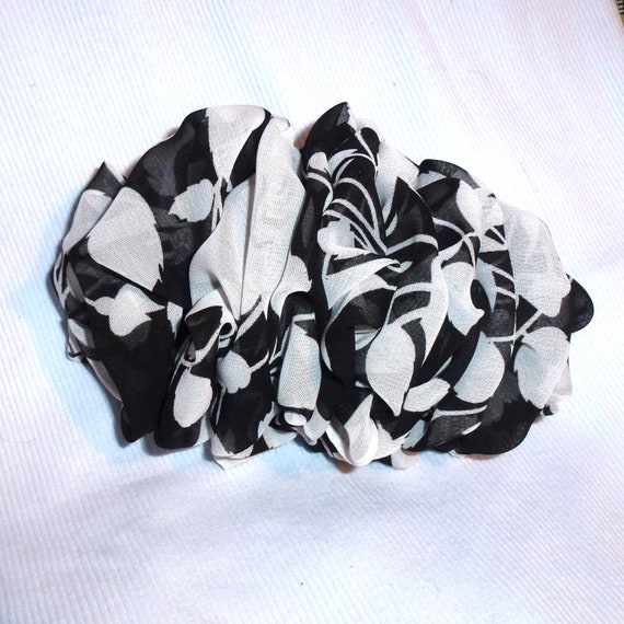 Becky Bows ~  Oversized hair bows for women Beautiful adult bow for ladies white black floral