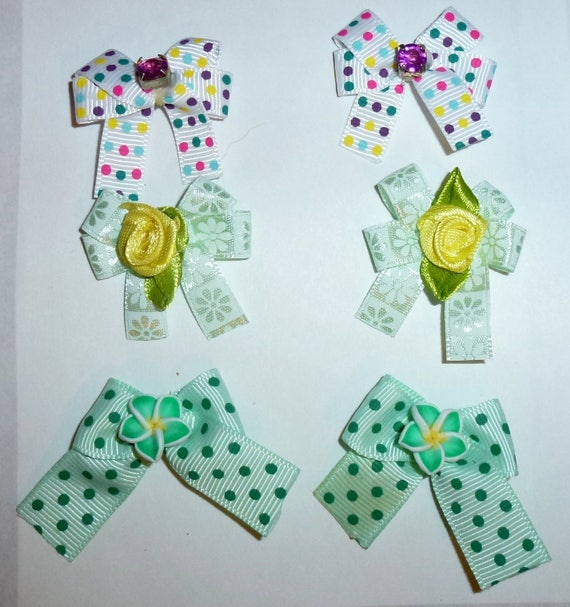 Puppy Bows ~6 teal blue  EVERYDAY BOWS Yorkie Maltese Shih Tzu ~Usa seller (fb81)