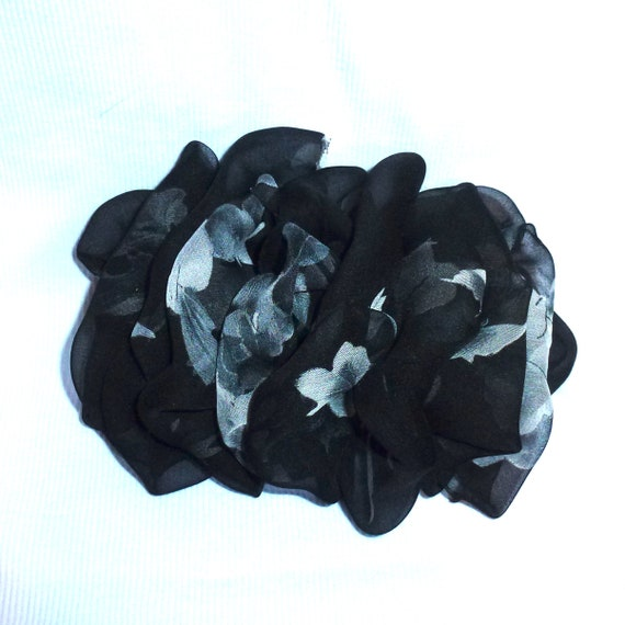 Becky Bows ~  Barrette ribbon Hand crafted over sized  BIG hair bow Women or Girls black gray floral
