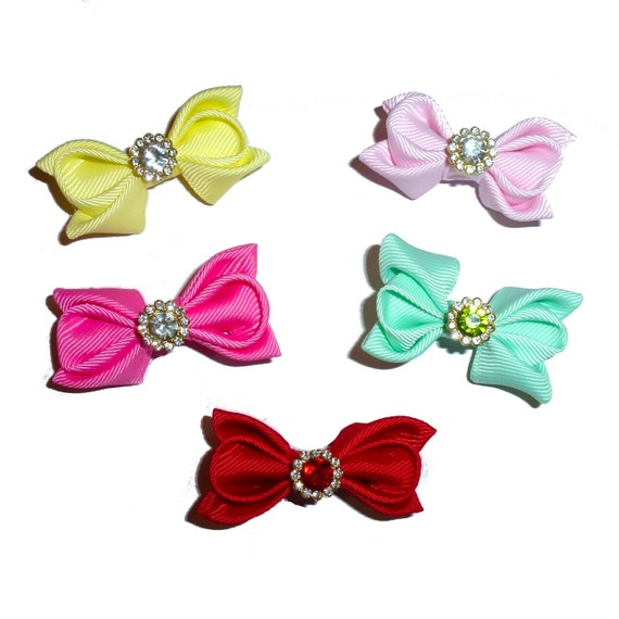Puppy Dog Bows ~ Rhinestone fantail flowers  pet hair show bow barrettes or bands (FB41)