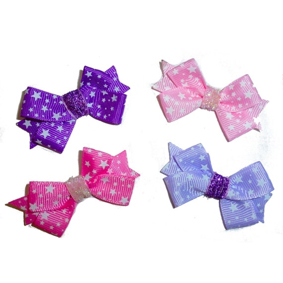 Puppy Bows ~  Pink or purple fancy star dot pet hair bowknot   ~Usa seller (fb225)