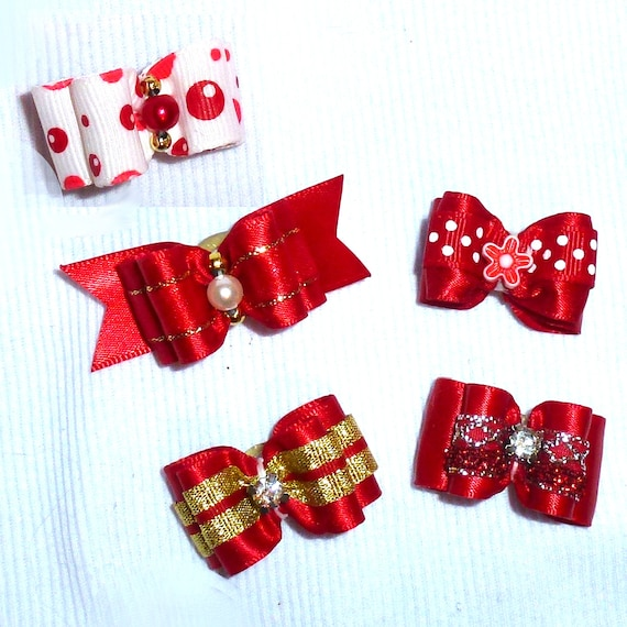 Puppy Bows ~Red bows for dogs 5 show bows dog bow  pet hair clip barrette or latex bands (sb1)