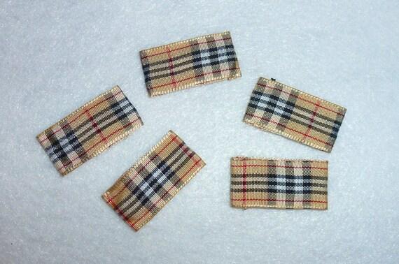 Puppy Bows ~ Pawberry brown plaid dog bone pet hair snap clips 5 burrific bow snaps