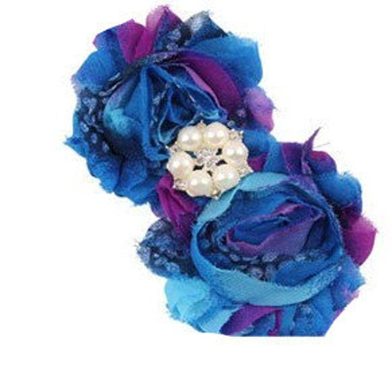 Puppy Bows ~ Dog collar slide bow large dog hair bows royal blue purple  lace and pearls ~USA seller (fb162)