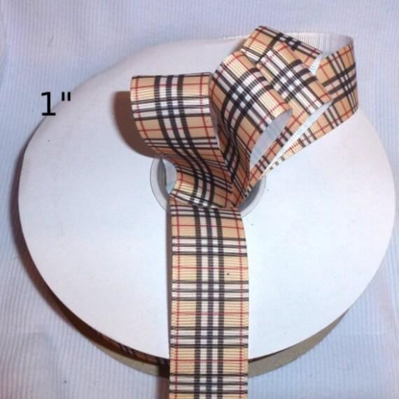 """Grosgrain ribbon craft supplies   1"""", 5/8"""", 3/8"""" red blue pink brown black Scottish tartan designer plaid  ribbon buy per yard"""