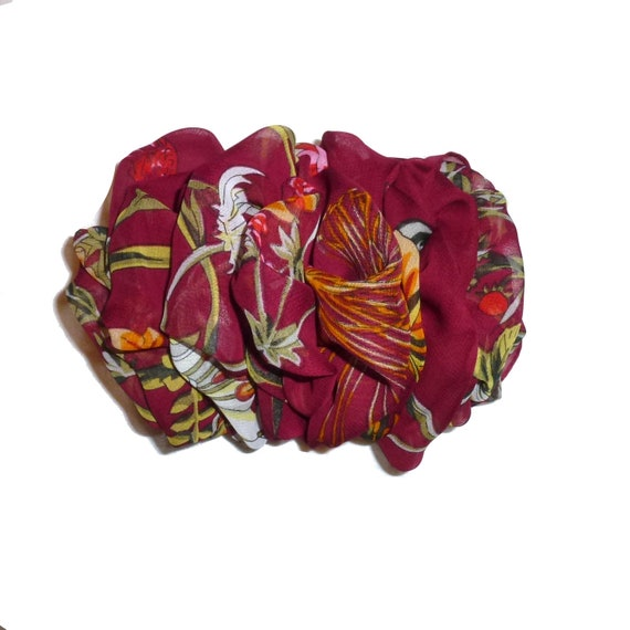 Becky Bows ~  Barrette  vintage style XL  jumbo chiffon scarf Hand crafted over sized  BIG hair bow Women burgundy floral