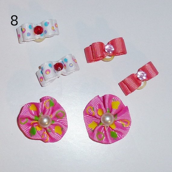 "Puppy Bows ~WEE TINY 3/8"" show bows pairs dog bow  pet hair clip barrette or latex bands (set8)"