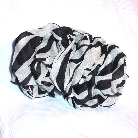 Becky Bows ~  Oversized hair bows for women Beautiful adult bow for ladies white black stripes