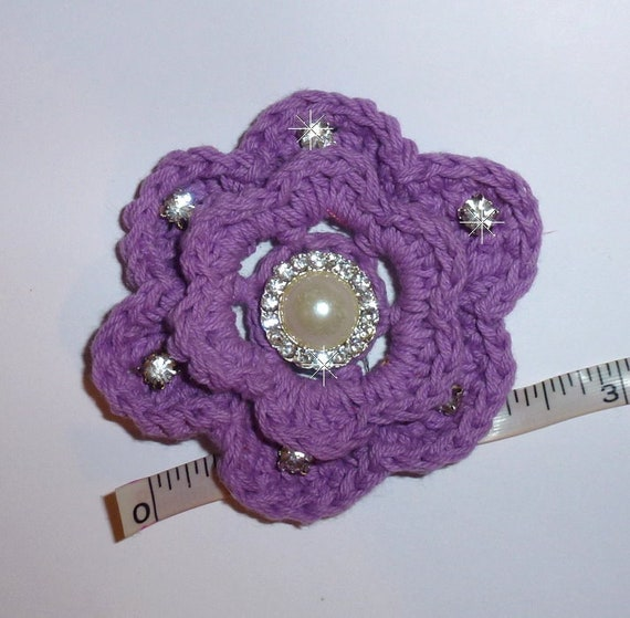 Puppy Dog Bows ~ Purple crochet lavender rose pet hair bow barrettes or bands (fb103)
