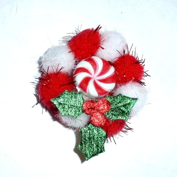 Puppy Dog Bows ~ red white Christmas wreath holly  pet hair  bow barrettes or bands collar slide