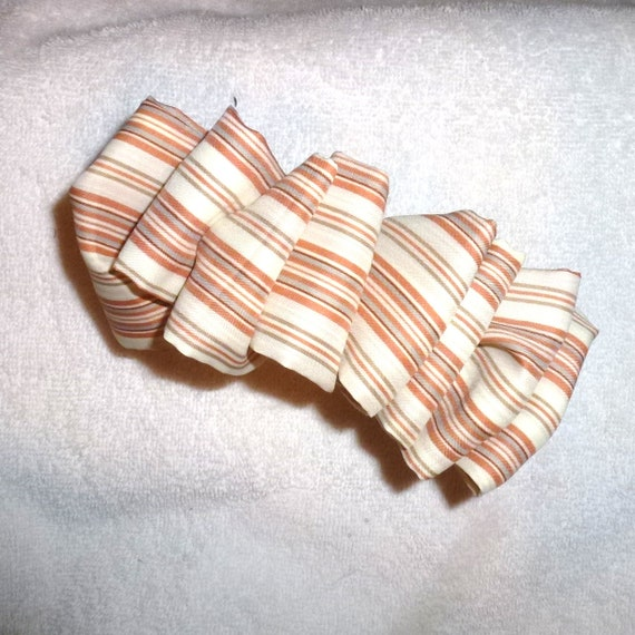 Becky Bows ~  vintage Barrette  Hand crafted over sized  BIG scarf hair bow Women or Girls  orange brown