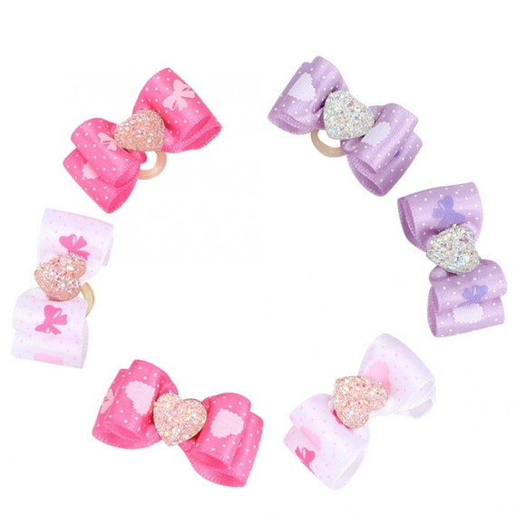 """Puppy Dog Bows ~ 5/8"""" faceted heart center bowknot  pet hair show bow barrettes or bands (FB310)"""