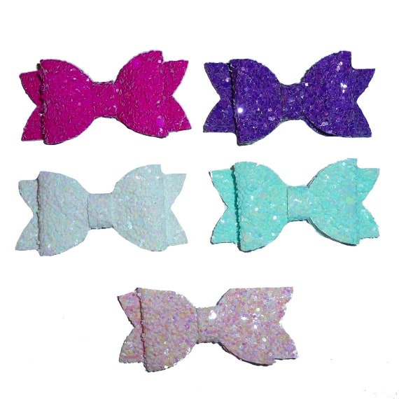 Puppy Bows ~ small chunky glitter pet hair bow with plastic ball clip barrette  (fb25)