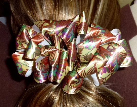 Becky Bows ~  Barrette ribbon Hand crafted oversized  BIG hair bow Women or Girls brown jungle palm leaf