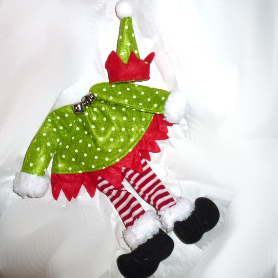 Puppy Bows ~ Christmas elf on a shelf dog collar slide bow with little elf hat topknot bow ~USA seller