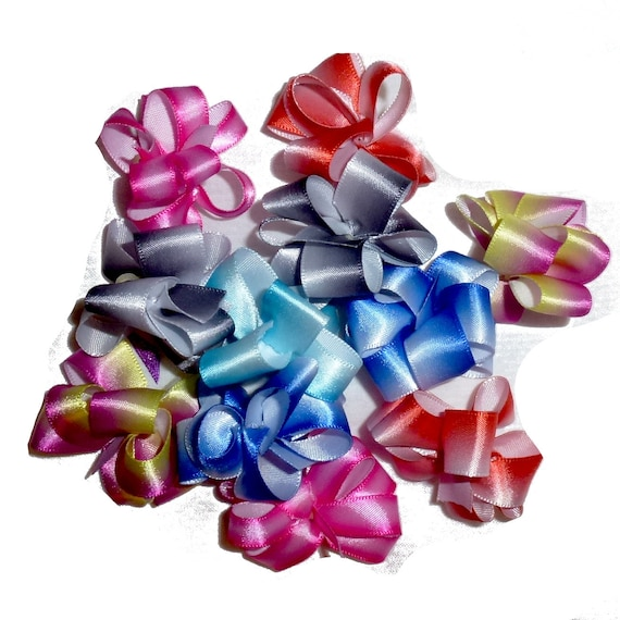 Puppy Bows ~ Ombre Satin Party puffs dog grooming bows - 6 bow pairs FREE SHIPPING