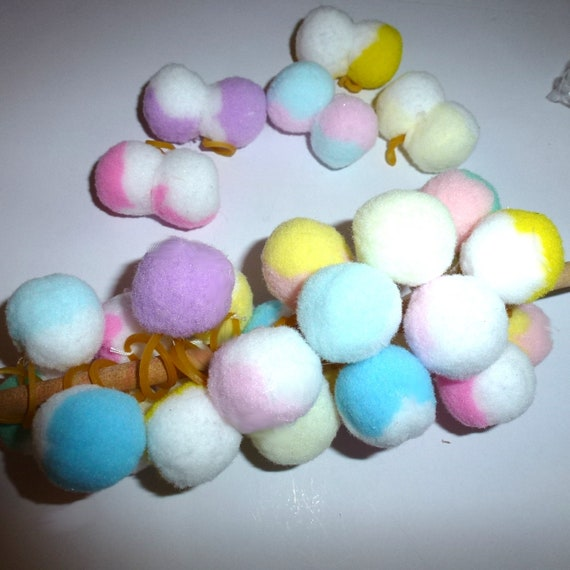 Puppy Bows ~ Small balls girl colors 30 dog grooming bow all colors of pet pom poms (fb202)