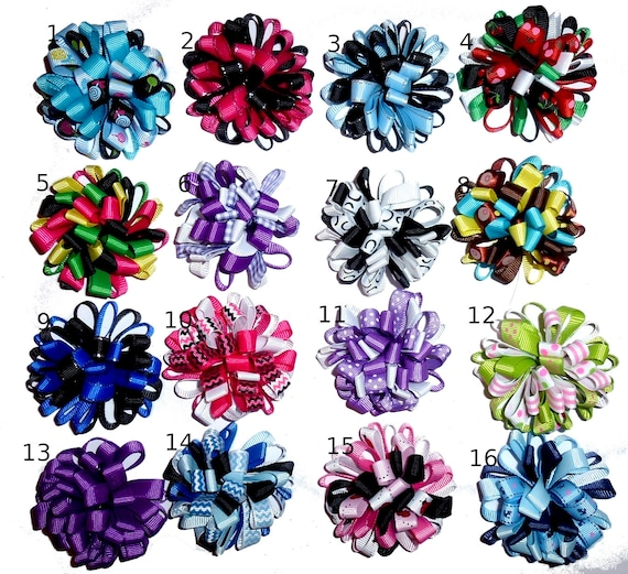 Puppy Bows ~  Fun multi loopy puff hair bows collar slide  barrette or bands pet dog bow