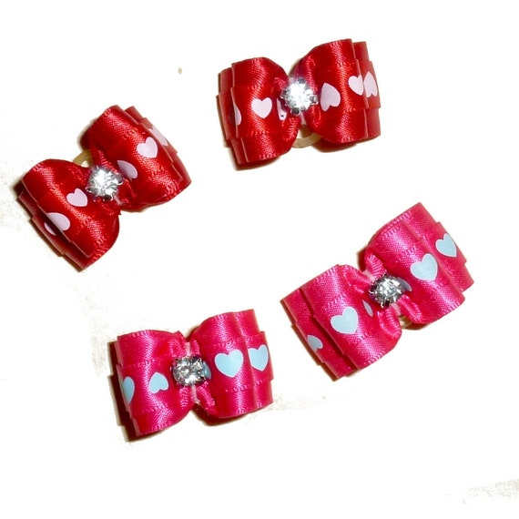 "Puppy Dog Bows ~ 7/8"" Valentine's day heart print pet show bow pink or red"