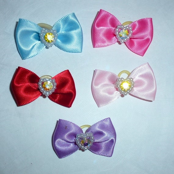 20  everyday dog groomers grooming pet hair bows satin Valentine's day heart pearl center (fb261)