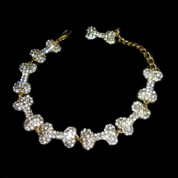 """Puppy Bows 9""""-10.5"""" rhinestone crystal bone dog necklace collar jewelry (fb148)"""