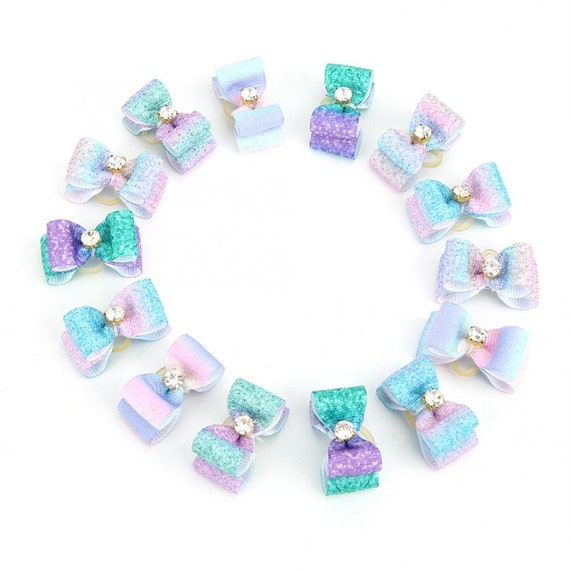 "Puppy Bows ~ 5/8"" ombre teal purple double loop topknot dog  show bow (FB157)"