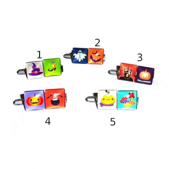 "Pet hair clips ~ Tiny 3/4"" Halloween trick or treat pumpkin witch bats dog barrette hair clip"