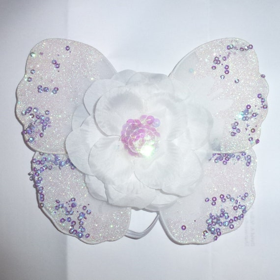 Puppy Bows ~ Pink Purple or white fairy angel  butterfly wings DOG CAT RABBIT size fit 2lb - 25lb