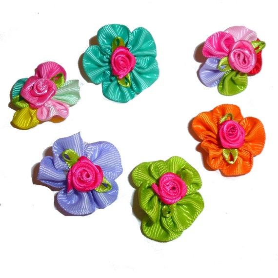 DogBowBarrettes ~ Multicolor hand sewn five petal daisy dog grooming bows flower pet hair bow  - (fb208)