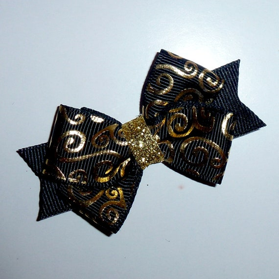 Puppy Bows ~Black gold swirl dog pet  hair bowknot bow bands or barrette  (fb116)~USA seller