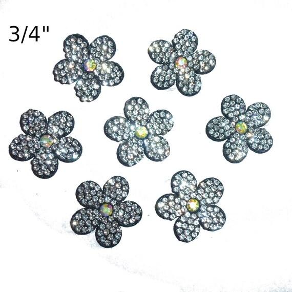 "Puppy Bows ~ black rhinestone flower  small  under 1"" pet hair bow  - (fb176)"