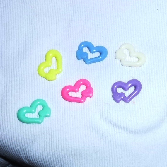 craft items ~  candy colored heart beads multi colored  package of 12