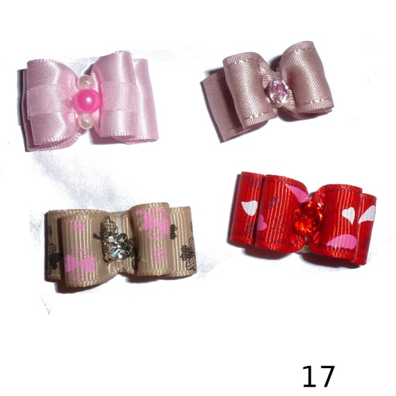 "Puppy Dog Bows ~ 5/8"" satin bowknot SET OF 4! girls pet hair show bow barrettes or bands (saset17-22)"