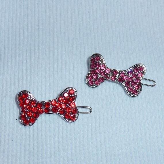 Puppy Bows ~ rhinestone dog bone barrette pink or red jewelry ~USA seller