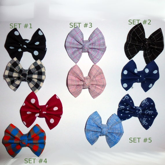 Puppy Bows ~Twill bow tie shape dog pet  hair bowknot bow bands or barrette padded (fb113)~USA seller